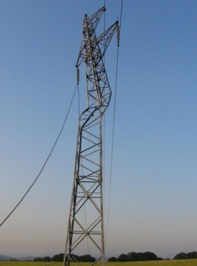 Damanged power pylon